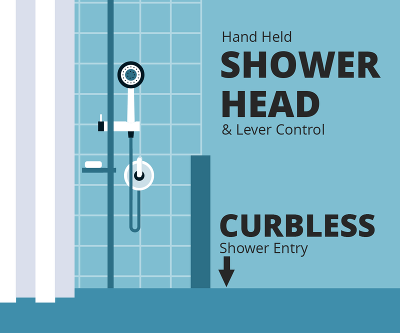 Accessibility - Curbless shower and hand held shower head.