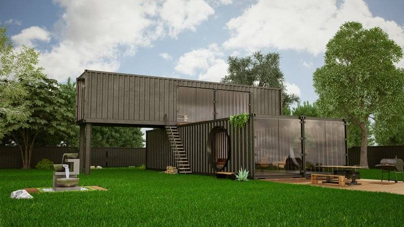 rendering of stacked container modular home with yard and garden