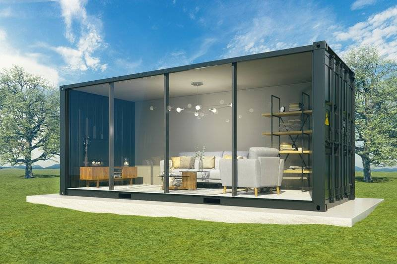 rendering of a container modular home interior