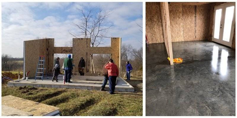 two photos of a kit home built on polished concrete slab foundation