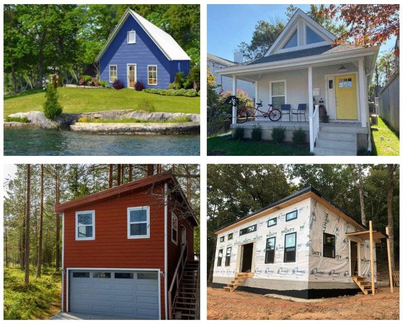 4 photos of kit homes in different locations