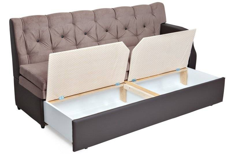 Folding light brown fabric sofa with storage