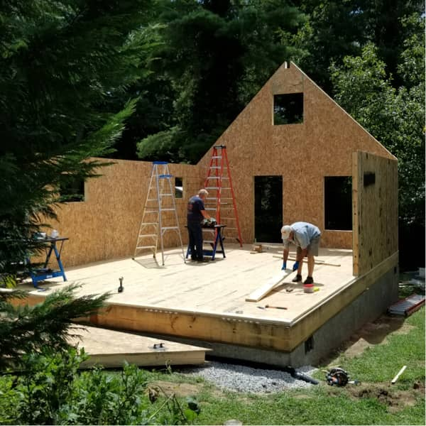 A cottage model during the build process